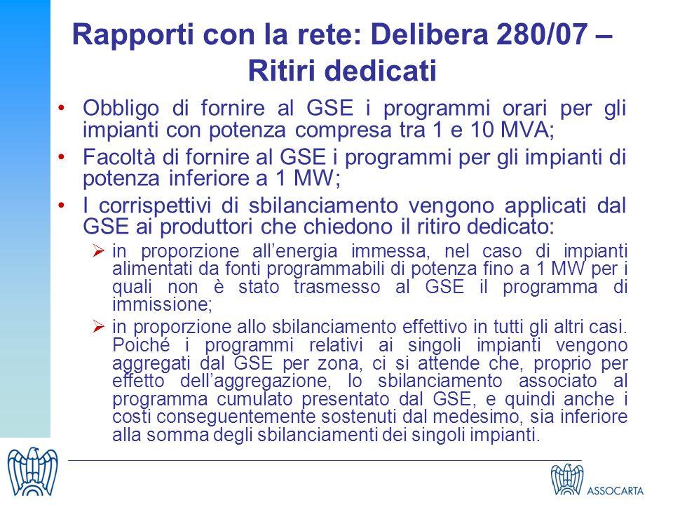 Rapporti con la rete: Delibera 280/07 – Ritiri dedicati Obbligo di fornire al GSE i programmi orari per gli impianti con potenza compresa tra 1 e 10 M