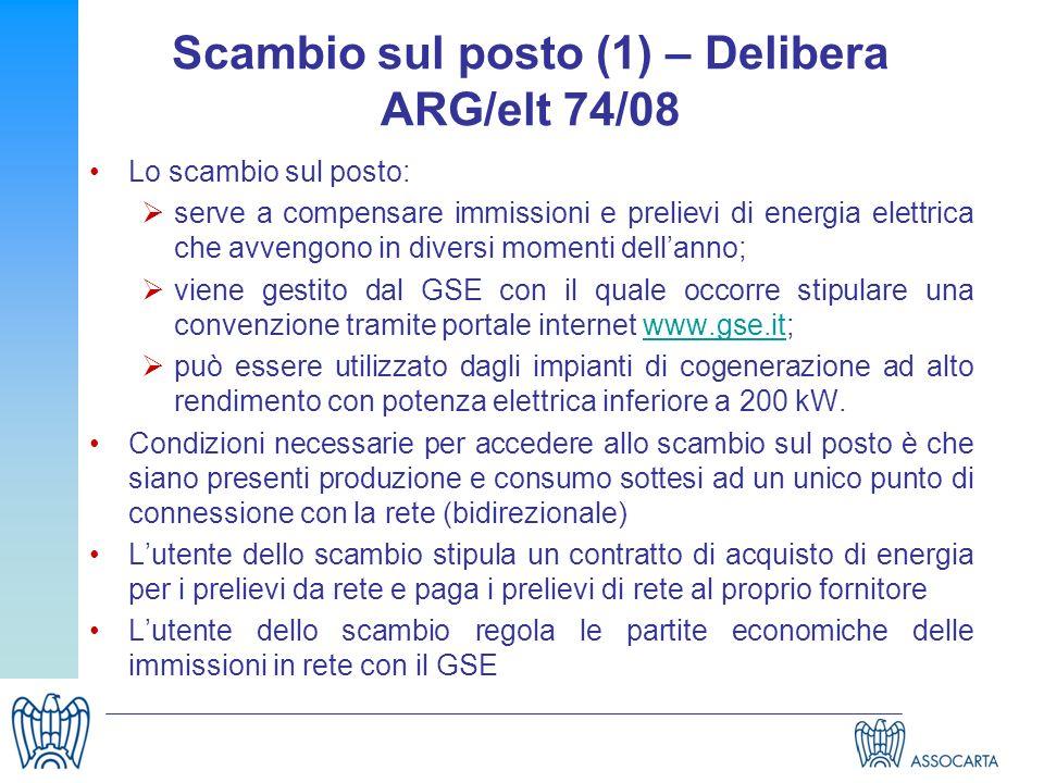 Scambio sul posto (1) – Delibera ARG/elt 74/08 Lo scambio sul posto: serve a compensare immissioni e prelievi di energia elettrica che avvengono in di
