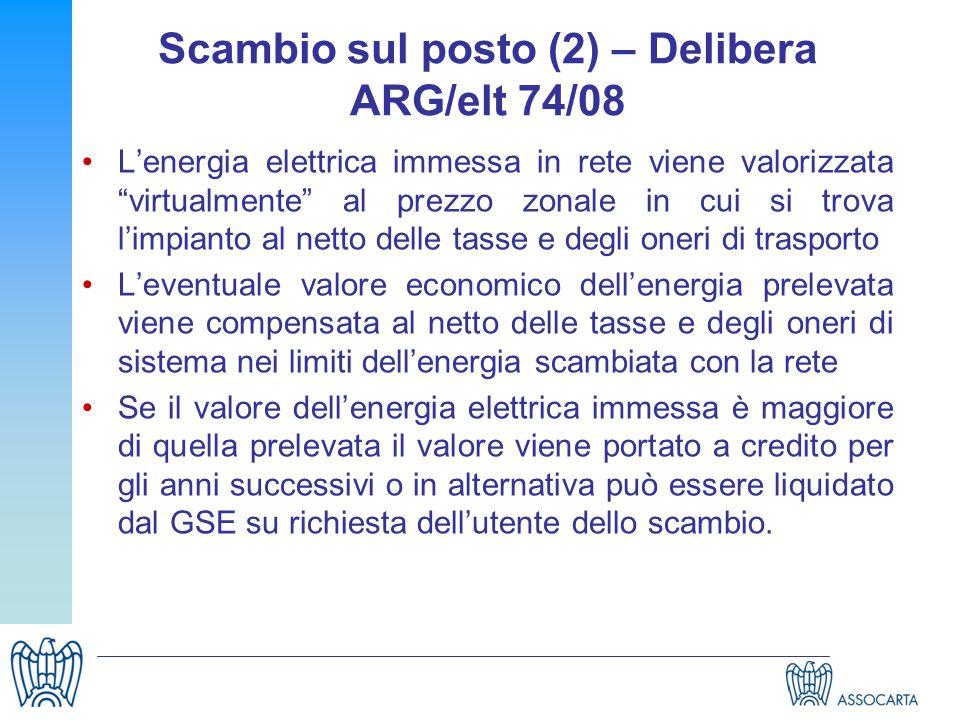 Scambio sul posto (2) – Delibera ARG/elt 74/08 Lenergia elettrica immessa in rete viene valorizzata virtualmente al prezzo zonale in cui si trova limp