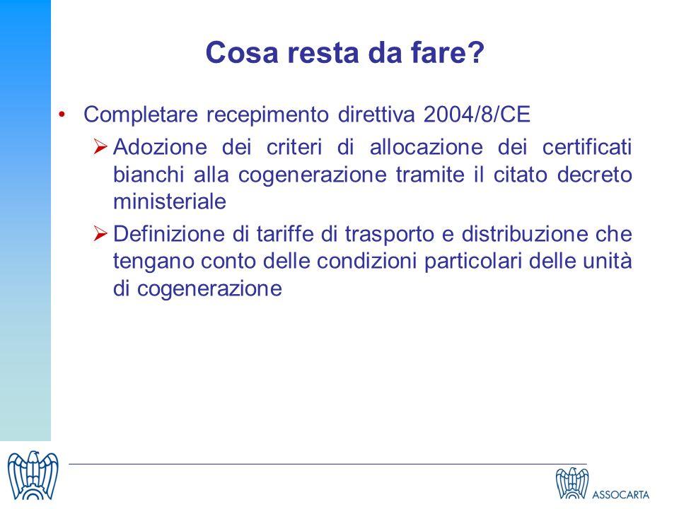 Cosa resta da fare? Completare recepimento direttiva 2004/8/CE Adozione dei criteri di allocazione dei certificati bianchi alla cogenerazione tramite