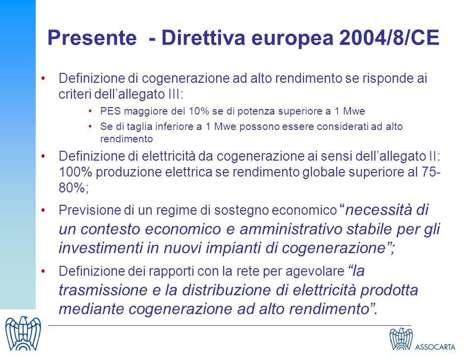 Presente - Direttiva europea 2004/8/CE Definizione di cogenerazione ad alto rendimento se risponde ai criteri dellallegato III: PES maggiore del 10% s