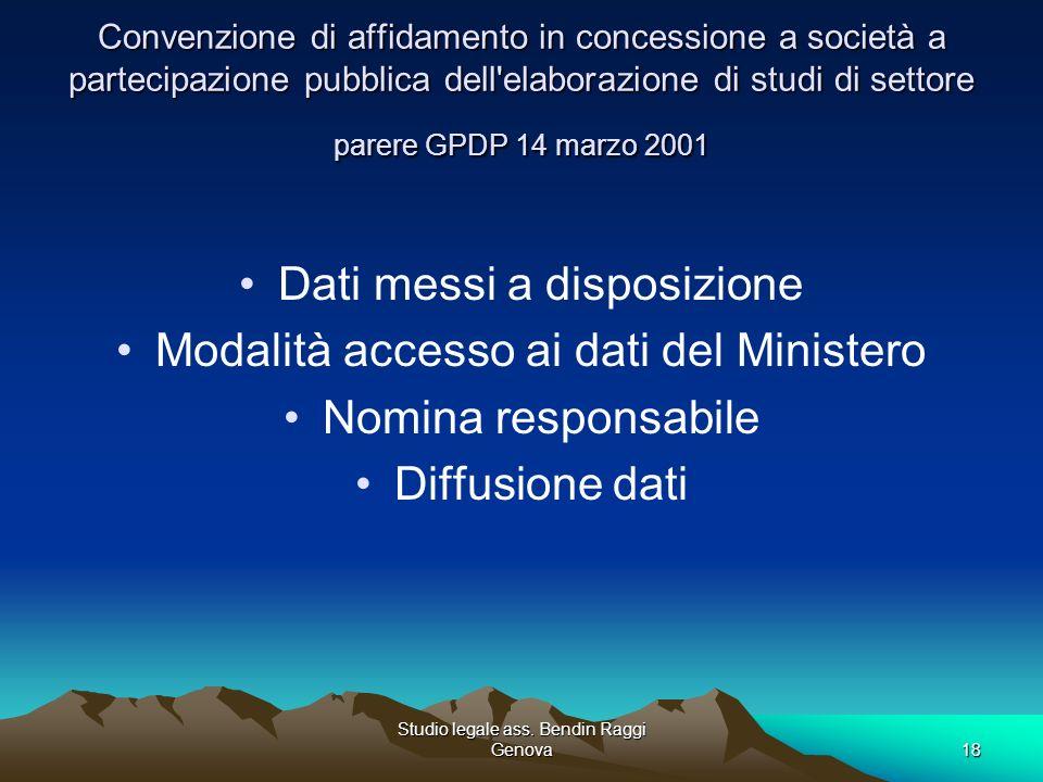 Studio legale ass. Bendin Raggi Genova18 Convenzione di affidamento in concessione a società a partecipazione pubblica dell'elaborazione di studi di s