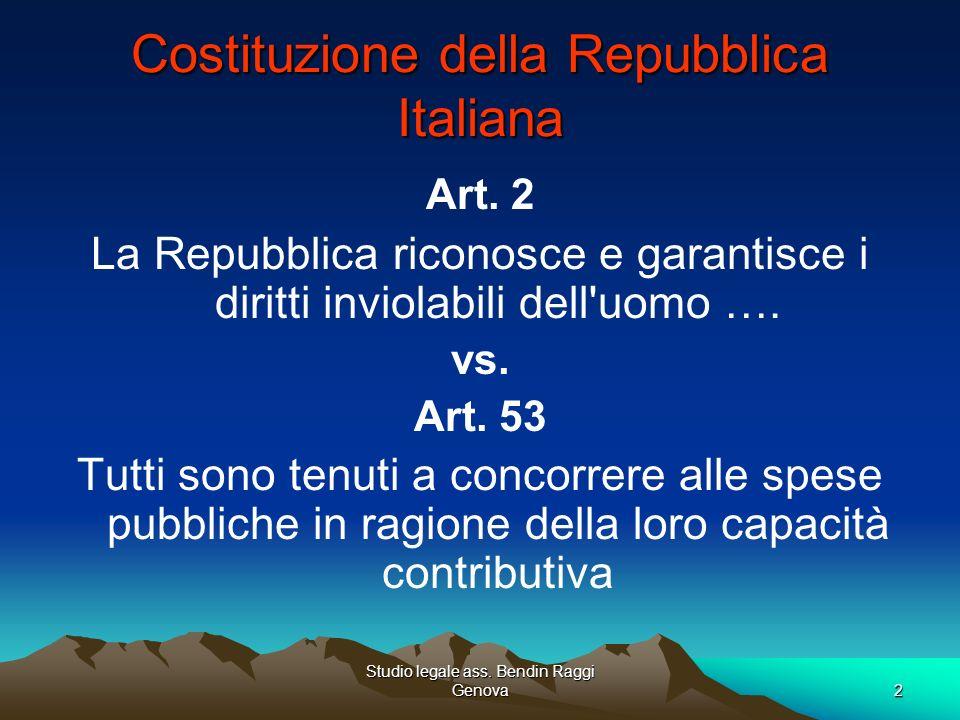 Studio legale ass. Bendin Raggi Genova2 Costituzione della Repubblica Italiana Art. 2 La Repubblica riconosce e garantisce i diritti inviolabili dell'