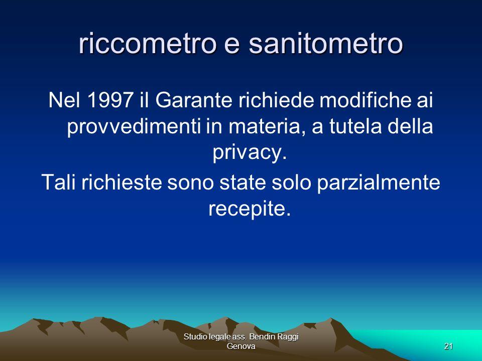 Studio legale ass. Bendin Raggi Genova21 riccometro e sanitometro Nel 1997 il Garante richiede modifiche ai provvedimenti in materia, a tutela della p