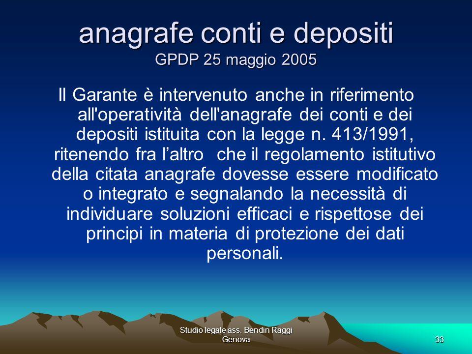 Studio legale ass. Bendin Raggi Genova33 anagrafe conti e depositi GPDP 25 maggio 2005 Il Garante è intervenuto anche in riferimento all'operatività d