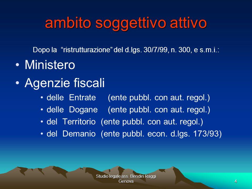 Studio legale ass.Bendin Raggi Genova5 ambito soggettivo attivo Autonomia impositiva (art.