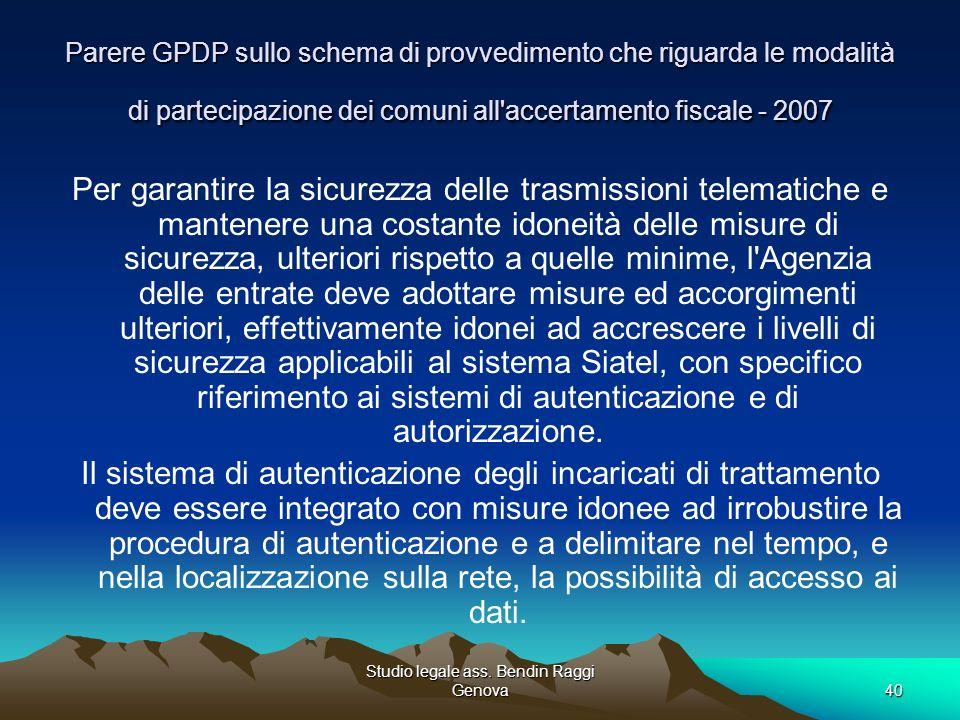Studio legale ass. Bendin Raggi Genova40 Parere GPDP sullo schema di provvedimento che riguarda le modalità di partecipazione dei comuni all'accertame