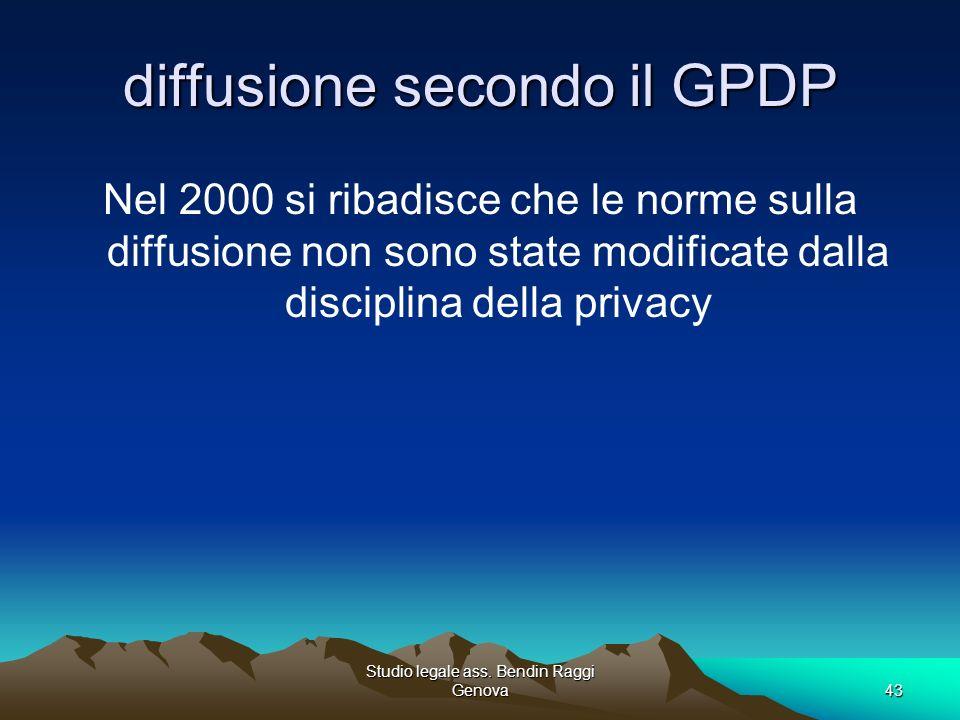 Studio legale ass. Bendin Raggi Genova43 diffusione secondo il GPDP Nel 2000 si ribadisce che le norme sulla diffusione non sono state modificate dall