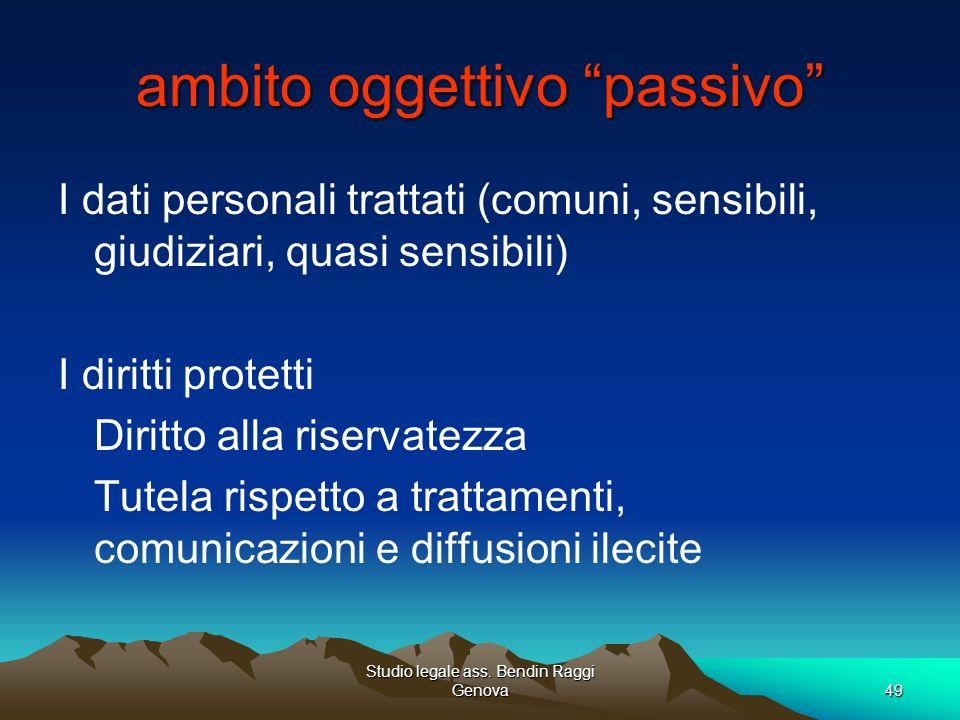 Studio legale ass. Bendin Raggi Genova49 ambito oggettivo passivo I dati personali trattati (comuni, sensibili, giudiziari, quasi sensibili) I diritti