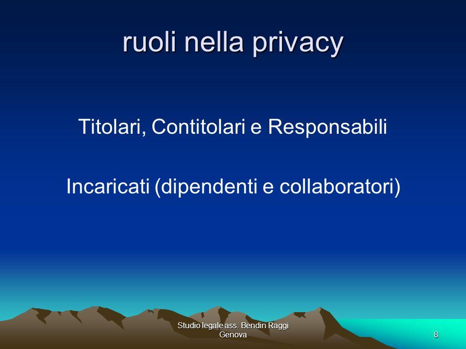 Studio legale ass. Bendin Raggi Genova8 ruoli nella privacy Titolari, Contitolari e Responsabili Incaricati (dipendenti e collaboratori)