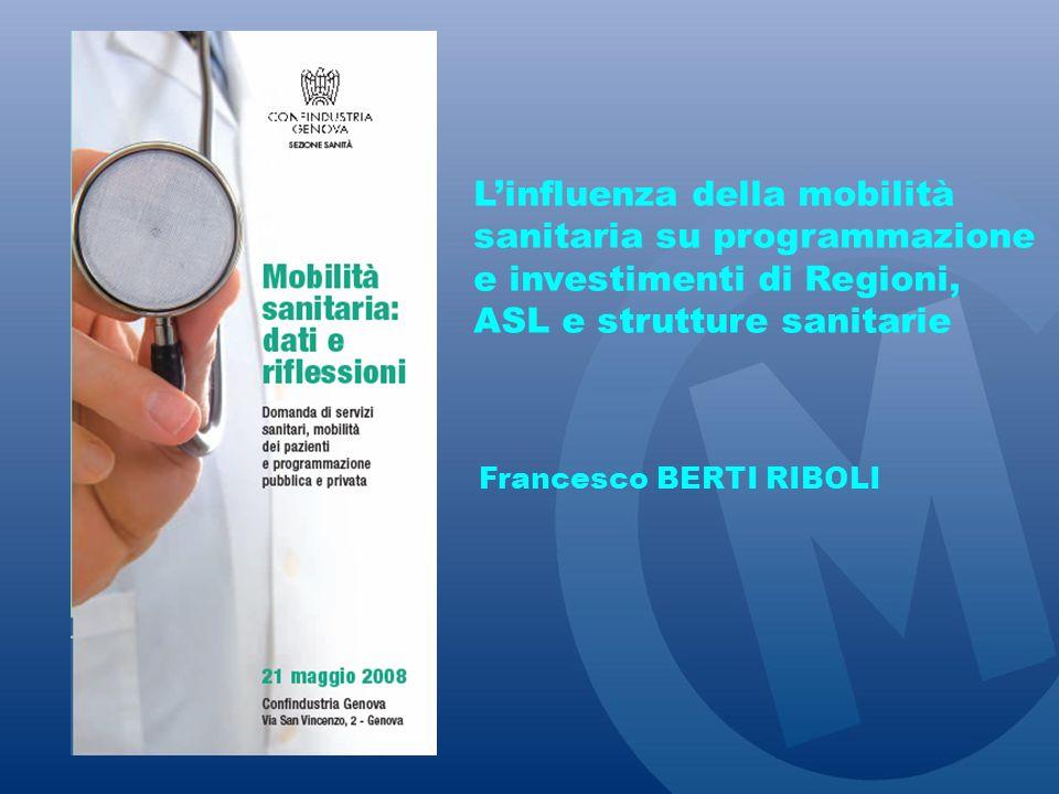 Linfluenza della mobilità sanitaria su programmazione e investimenti di Regioni, ASL e strutture sanitarie Francesco BERTI RIBOLI