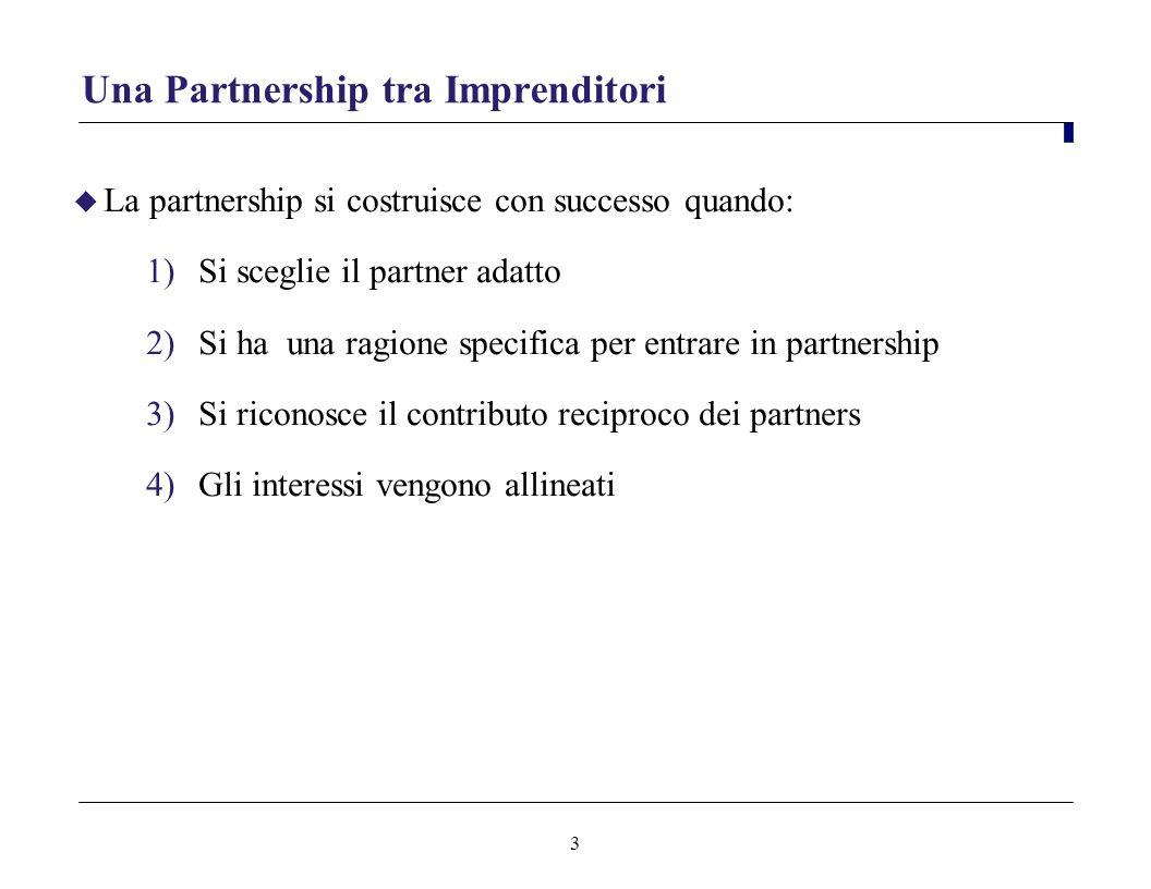 3 Una Partnership tra Imprenditori La partnership si costruisce con successo quando: 1)Si sceglie il partner adatto 2)Si ha una ragione specifica per entrare in partnership 3)Si riconosce il contributo reciproco dei partners 4)Gli interessi vengono allineati