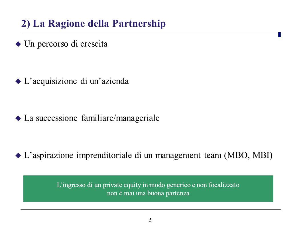 5 2) La Ragione della Partnership Un percorso di crescita Lacquisizione di unazienda La successione familiare/manageriale Laspirazione imprenditoriale di un management team (MBO, MBI) Lingresso di un private equity in modo generico e non focalizzato non è mai una buona partenza