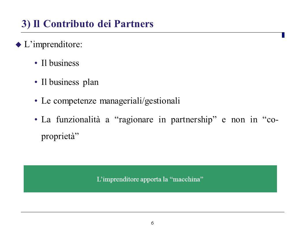 6 3) Il Contributo dei Partners Limprenditore: Il business Il business plan Le competenze manageriali/gestionali La funzionalità a ragionare in partne