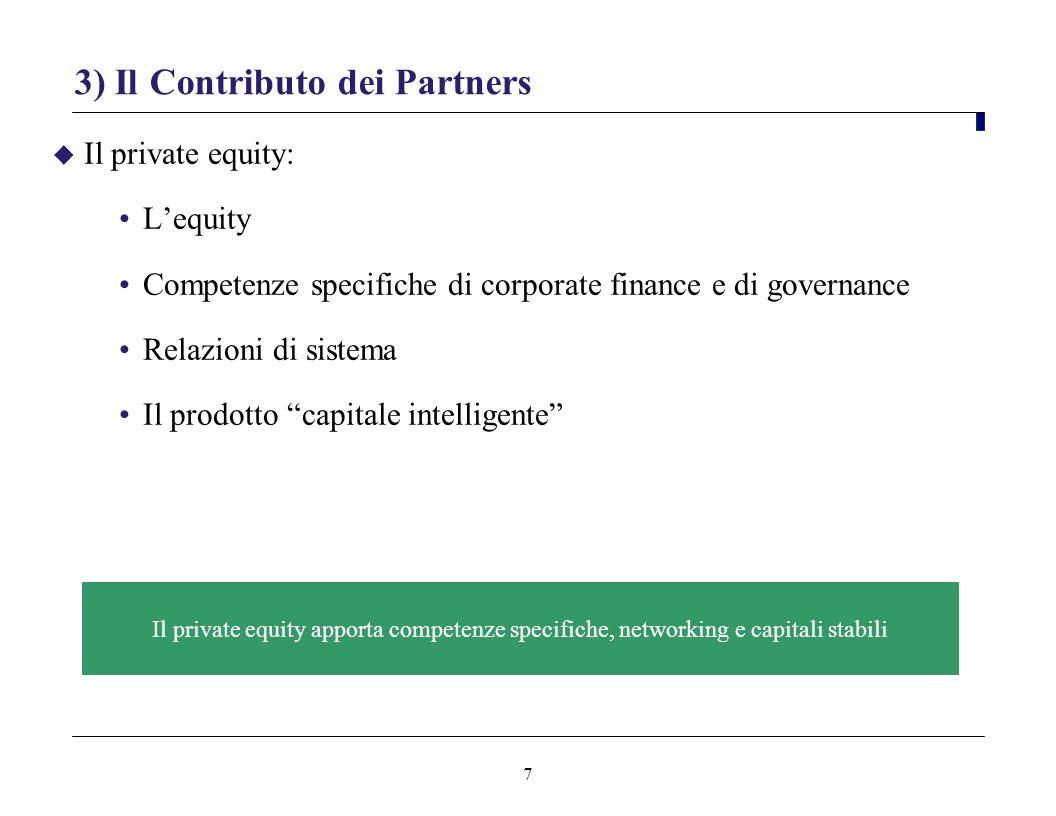7 3) Il Contributo dei Partners Il private equity: Lequity Competenze specifiche di corporate finance e di governance Relazioni di sistema Il prodotto