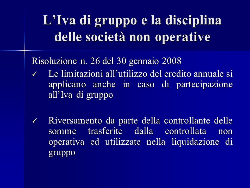 LIva di gruppo e la disciplina delle società non operative Risoluzione n.