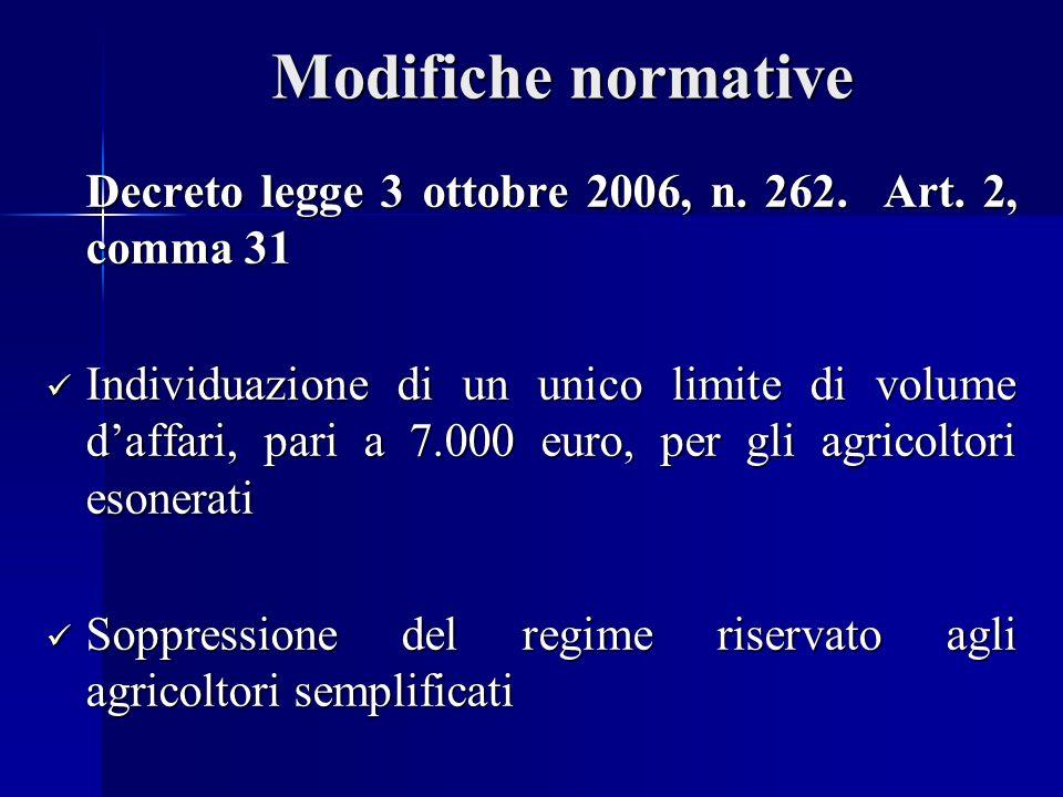 Modifiche normative Decreto legge 3 ottobre 2006, n.