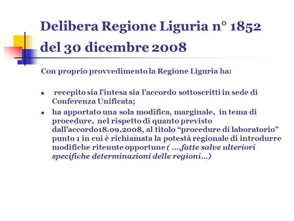 Delibera Regione Liguria n° 1852 del 30 dicembre 2008 Con proprio provvedimento la Regione Liguria ha: recepito sia lintesa sia laccordo sottoscritti