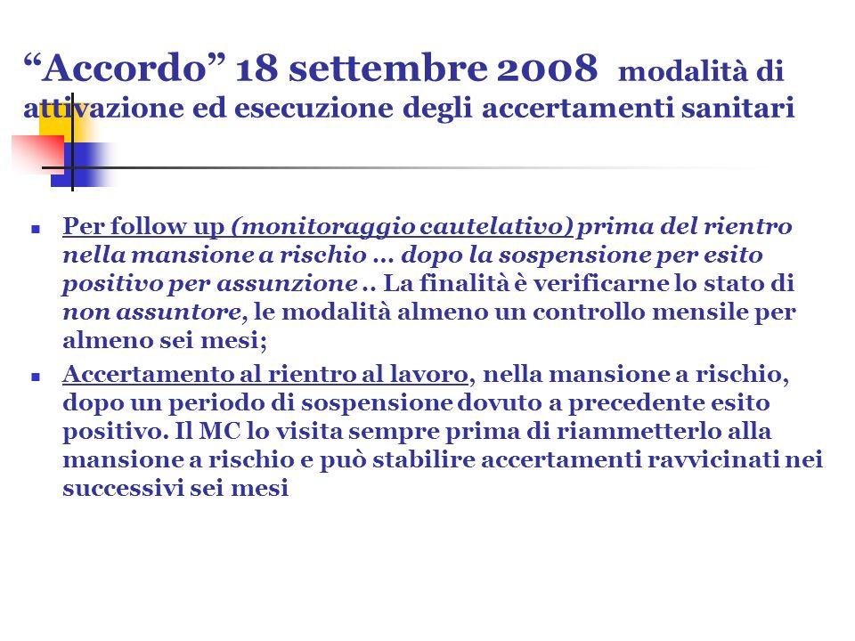 Accordo 18 settembre 2008 modalità di attivazione ed esecuzione degli accertamenti sanitari Per follow up (monitoraggio cautelativo) prima del rientro