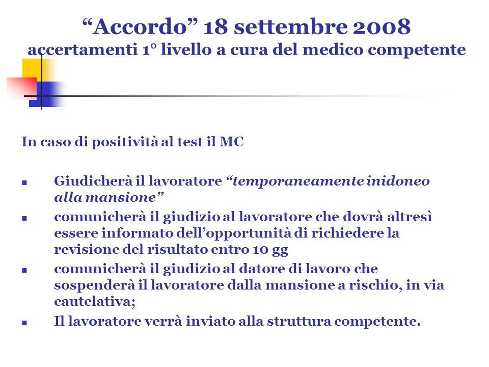 Accordo 18 settembre 2008 accertamenti 1° livello a cura del medico competente In caso di positività al test il MC Giudicherà il lavoratore temporanea