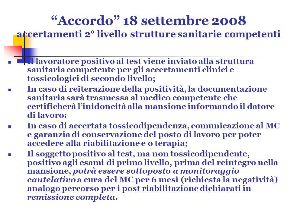 Accordo 18 settembre 2008 accertamenti 2° livello strutture sanitarie competenti Il lavoratore positivo al test viene inviato alla struttura sanitaria