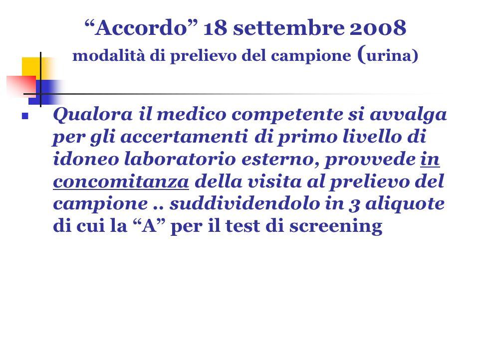 Accordo 18 settembre 2008 modalità di prelievo del campione ( urina) Qualora il medico competente si avvalga per gli accertamenti di primo livello di