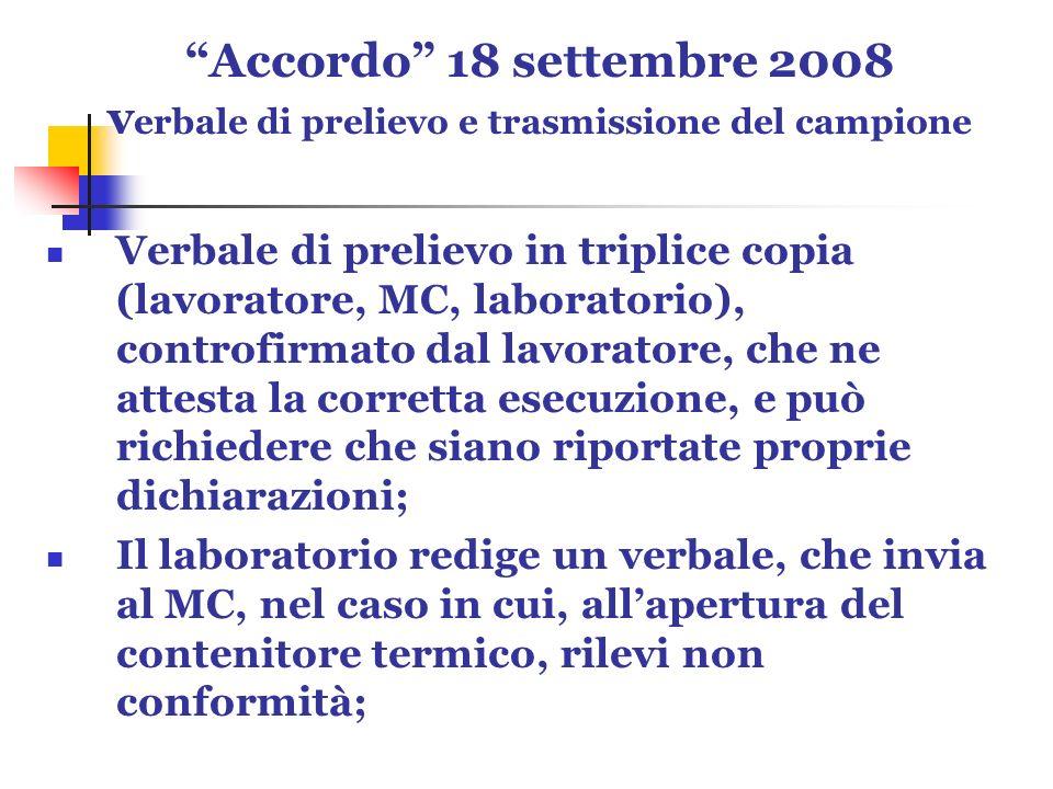 Accordo 18 settembre 2008 v erbale di prelievo e trasmissione del campione Verbale di prelievo in triplice copia (lavoratore, MC, laboratorio), contro