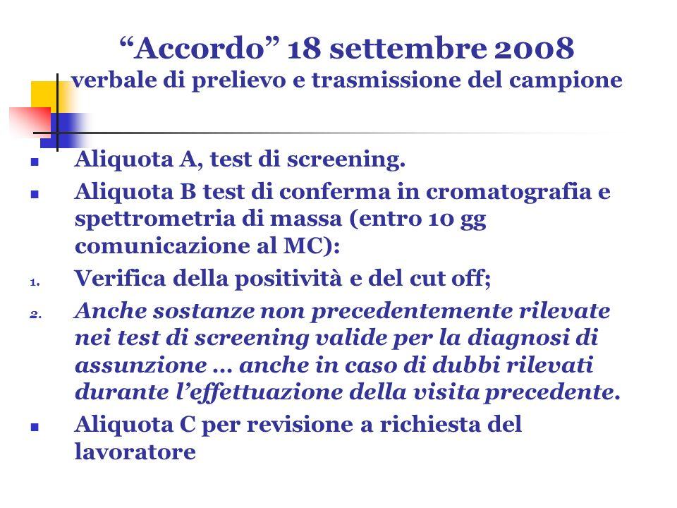 Accordo 18 settembre 2008 verbale di prelievo e trasmissione del campione Aliquota A, test di screening. Aliquota B test di conferma in cromatografia