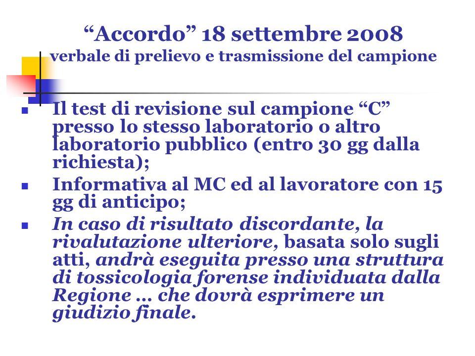 Accordo 18 settembre 2008 verbale di prelievo e trasmissione del campione Il test di revisione sul campione C presso lo stesso laboratorio o altro lab