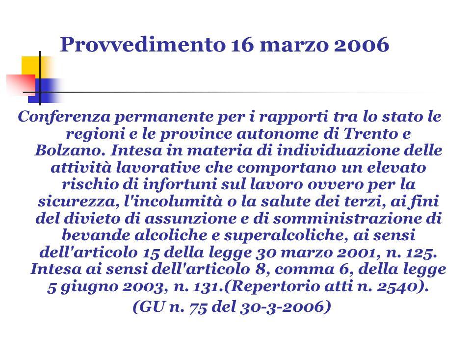 Provvedimento 16 marzo 2006 Conferenza permanente per i rapporti tra lo stato le regioni e le province autonome di Trento e Bolzano. Intesa in materia