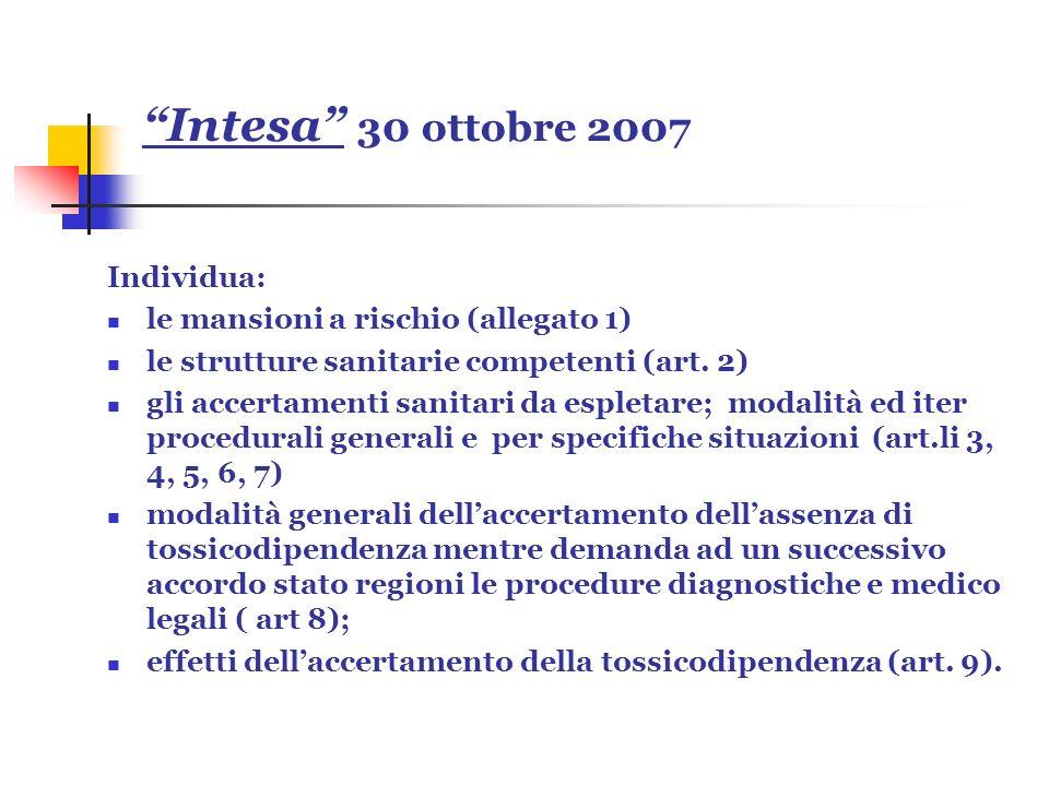 Intesa 30 ottobre 2007 Individua: le mansioni a rischio (allegato 1) le strutture sanitarie competenti (art. 2) gli accertamenti sanitari da espletare