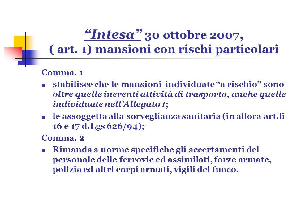 Intesa 30 ottobre 2007, ( art. 1) mansioni con rischi particolari Comma. 1 stabilisce che le mansioni individuate a rischio sono oltre quelle inerenti