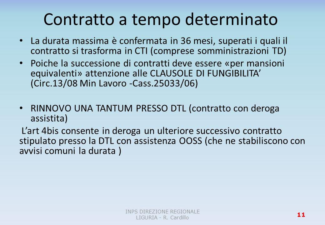 Contratto a tempo determinato La durata massima è confermata in 36 mesi, superati i quali il contratto si trasforma in CTI (comprese somministrazioni