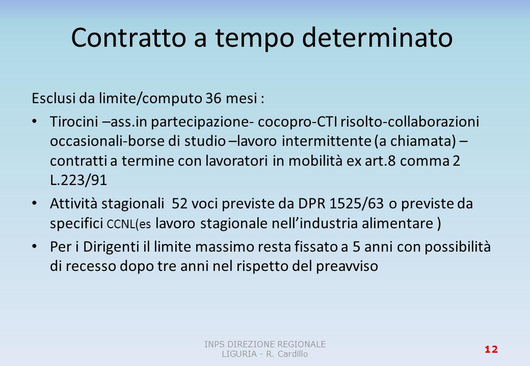 Contratto a tempo determinato Esclusi da limite/computo 36 mesi : Tirocini –ass.in partecipazione- cocopro-CTI risolto-collaborazioni occasionali-bors