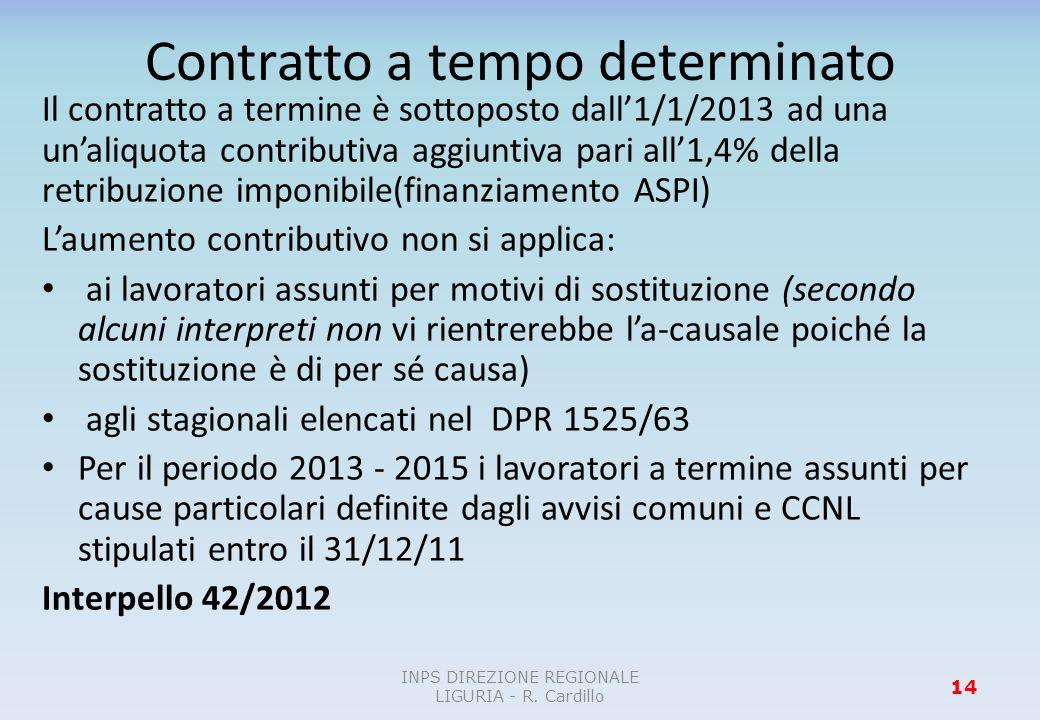 Contratto a tempo determinato Il contratto a termine è sottoposto dall1/1/2013 ad una unaliquota contributiva aggiuntiva pari all1,4% della retribuzio