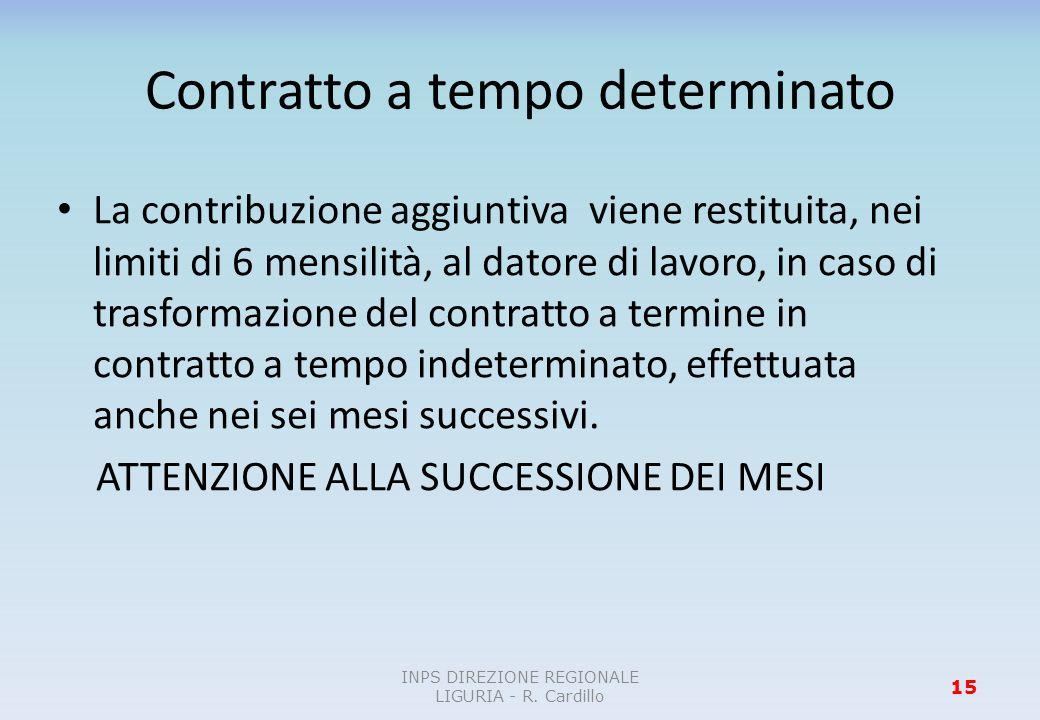 Contratto a tempo determinato La contribuzione aggiuntiva viene restituita, nei limiti di 6 mensilità, al datore di lavoro, in caso di trasformazione