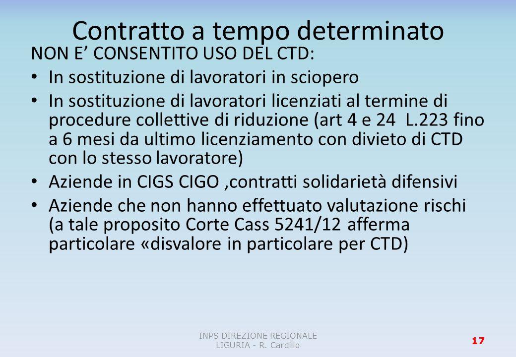 Contratto a tempo determinato NON E CONSENTITO USO DEL CTD: In sostituzione di lavoratori in sciopero In sostituzione di lavoratori licenziati al term