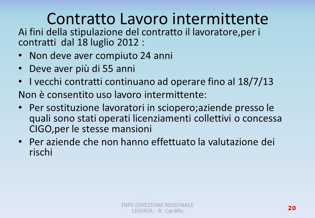 Contratto Lavoro intermittente Ai fini della stipulazione del contratto il lavoratore,per i contratti dal 18 luglio 2012 : Non deve aver compiuto 24 a