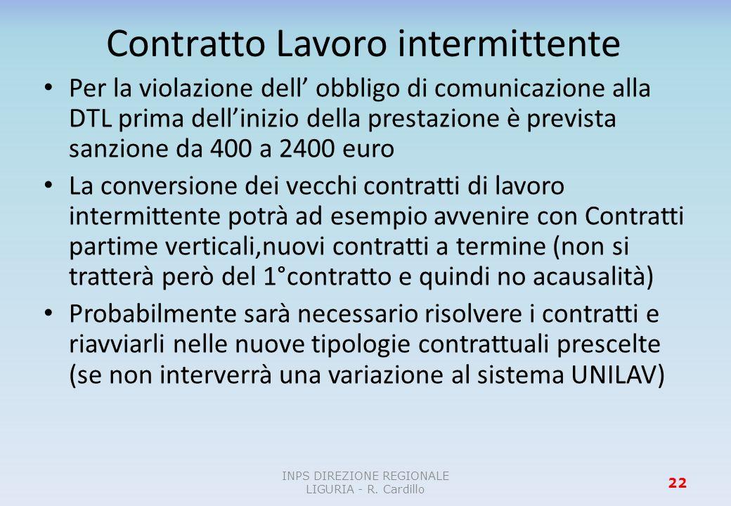 Contratto Lavoro intermittente Per la violazione dell obbligo di comunicazione alla DTL prima dellinizio della prestazione è prevista sanzione da 400