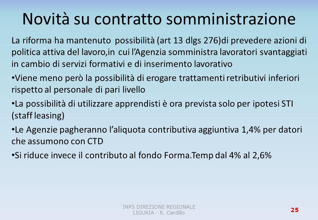 Novità su contratto somministrazione La riforma ha mantenuto possibilità (art 13 dlgs 276)di prevedere azioni di politica attiva del lavoro,in cui lAg