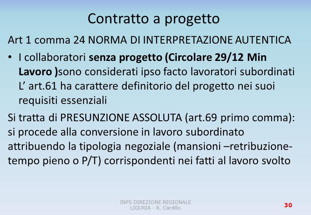 Contratto a progetto Art 1 comma 24 NORMA DI INTERPRETAZIONE AUTENTICA I collaboratori senza progetto (Circolare 29/12 Min Lavoro )sono considerati ip