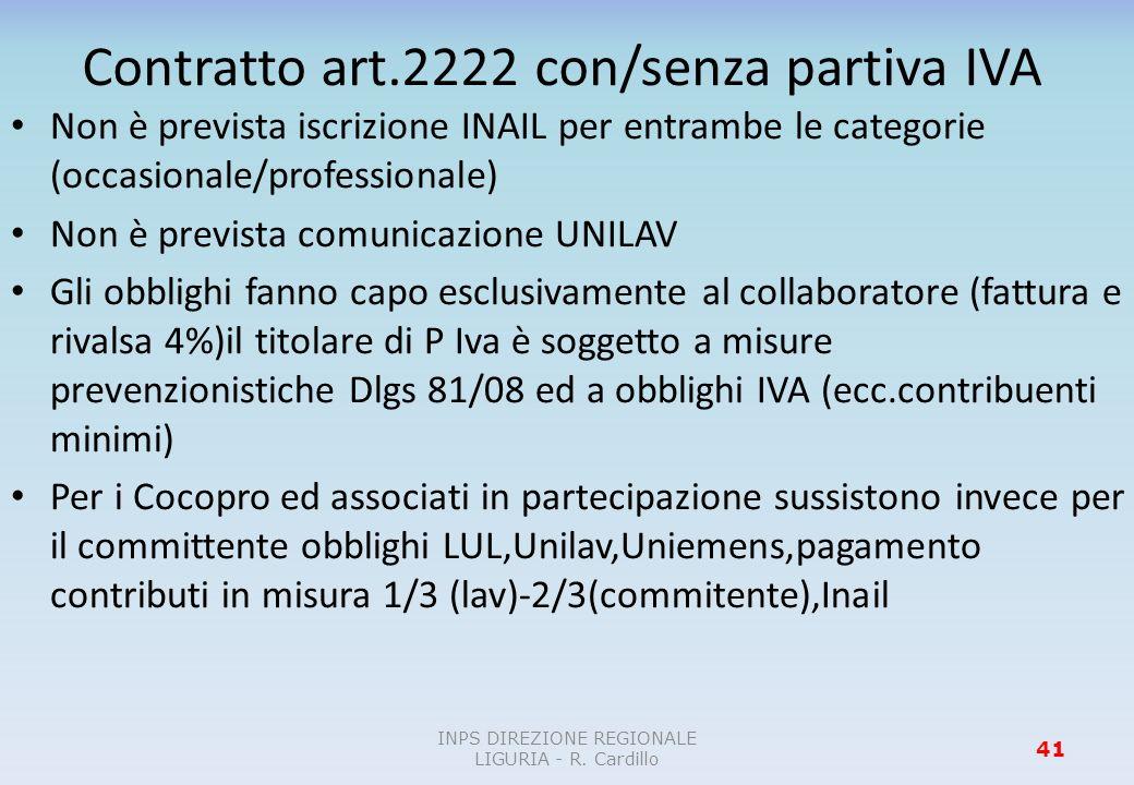 Contratto art.2222 con/senza partiva IVA Non è prevista iscrizione INAIL per entrambe le categorie (occasionale/professionale) Non è prevista comunica