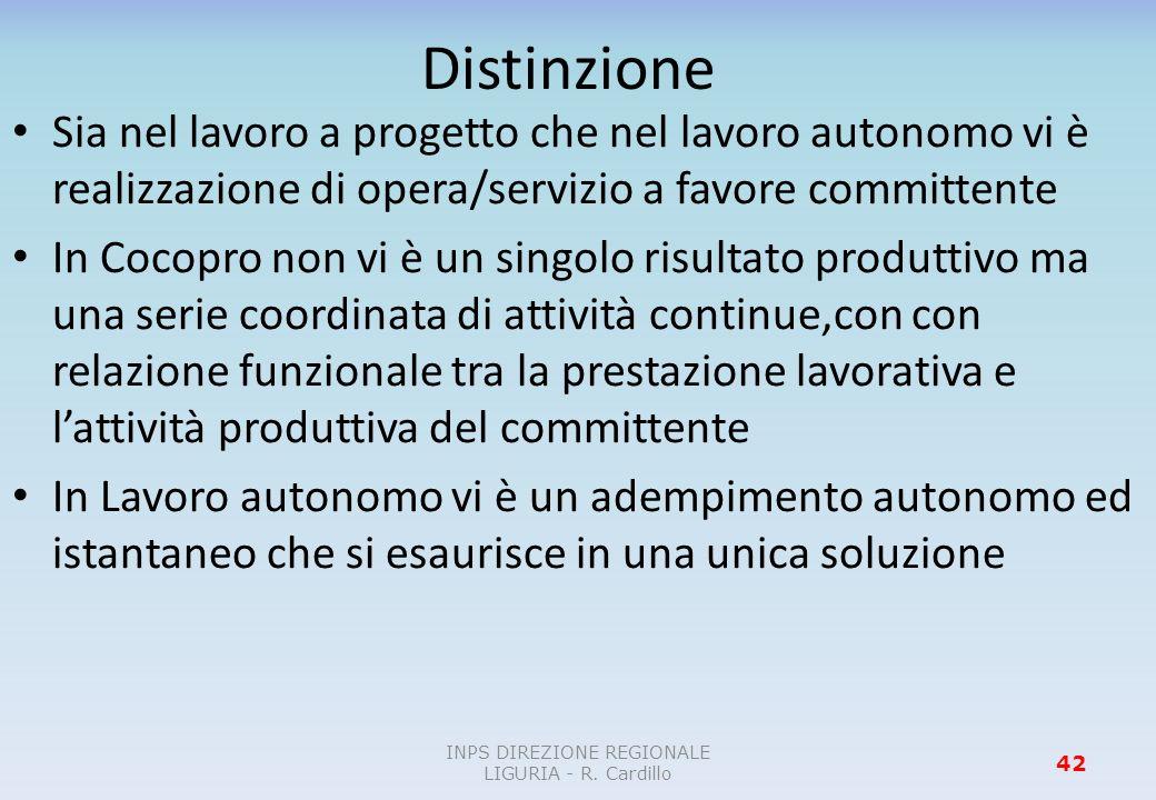 Distinzione Sia nel lavoro a progetto che nel lavoro autonomo vi è realizzazione di opera/servizio a favore committente In Cocopro non vi è un singolo