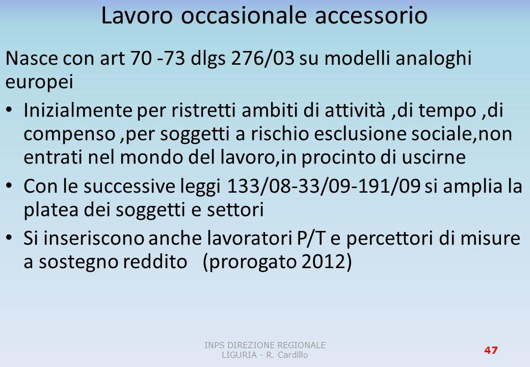 Lavoro occasionale accessorio Nasce con art 70 -73 dlgs 276/03 su modelli analoghi europei Inizialmente per ristretti ambiti di attività,di tempo,di c