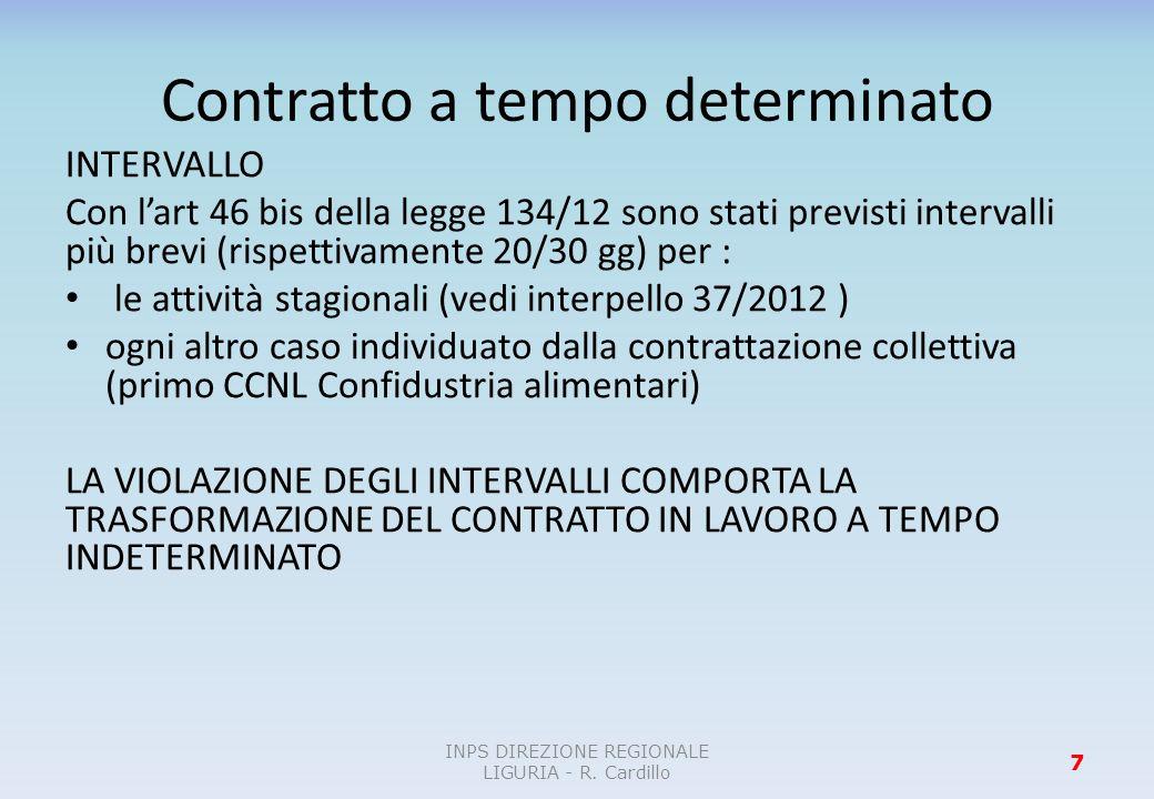 Contratto a tempo determinato INTERVALLO Con lart 46 bis della legge 134/12 sono stati previsti intervalli più brevi (rispettivamente 20/30 gg) per :
