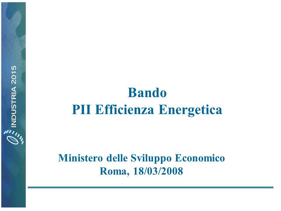 Bando PII Efficienza Energetica Ministero delle Sviluppo Economico Roma, 18/03/2008