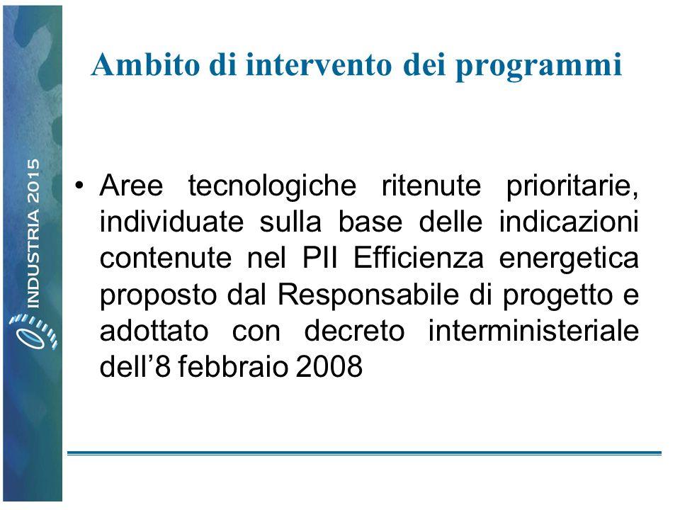 Ambito di intervento dei programmi Aree tecnologiche ritenute prioritarie, individuate sulla base delle indicazioni contenute nel PII Efficienza energetica proposto dal Responsabile di progetto e adottato con decreto interministeriale dell8 febbraio 2008