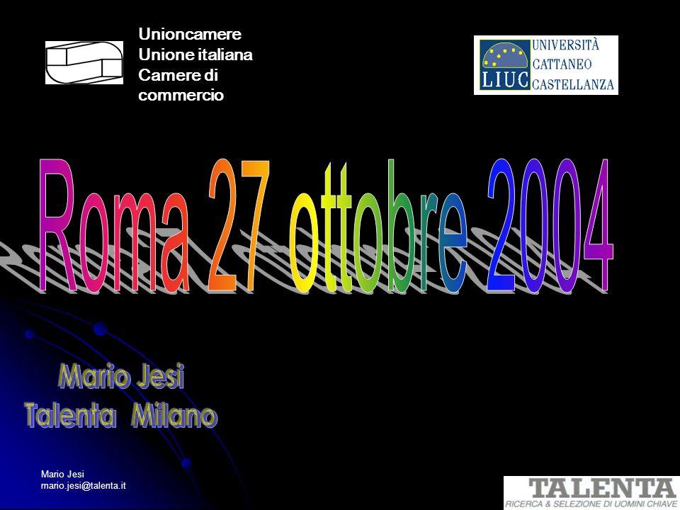 Mario Jesi mario.jesi@talenta.it Unioncamere Unione italiana Camere di commercio