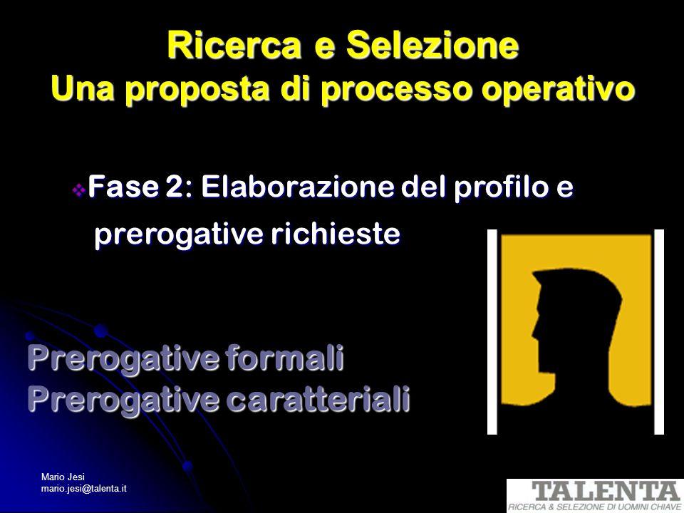 Mario Jesi mario.jesi@talenta.it Ricerca e Selezione Una proposta di processo operativo Fase 2: Elaborazione del profilo e Fase 2: Elaborazione del pr