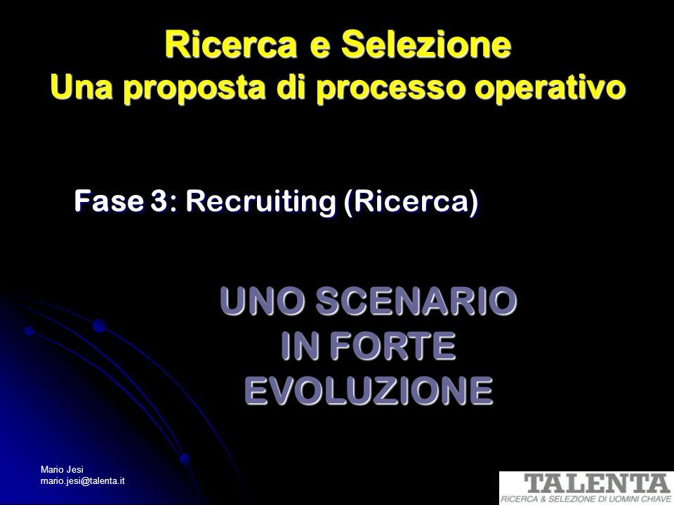 Mario Jesi mario.jesi@talenta.it Ricerca e Selezione Una proposta di processo operativo Fase 3: Recruiting (Ricerca) UNO SCENARIO IN FORTE EVOLUZIONE